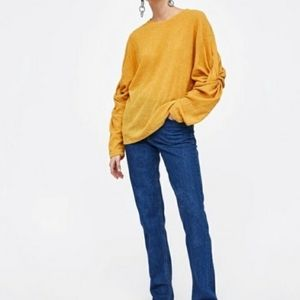 Zara Yellow Knot Sleeve Blouse Size M